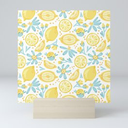 Lemon pattern White Mini Art Print