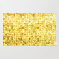 gold glitter Area & Throw Rugs featuring Disco Gold - Glitter by Paula Belle Flores