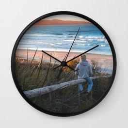 Boy Enjoying Sunrise Wall Clock