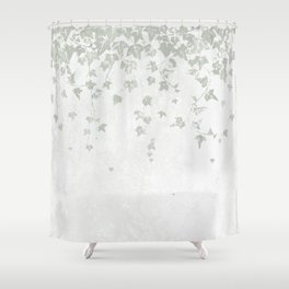 Soft Gray Green and White Trailing Ivy Leaf Print Shower Curtain