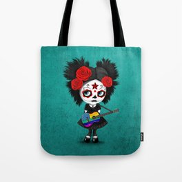 Day of the Dead Girl Playing Rainbow American Flag Guitar Tote Bag