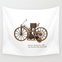 motorbike Wall Tapestries featuring Daimler Riding Car, 1885. The world's first motorbike. by Marijan Zubak