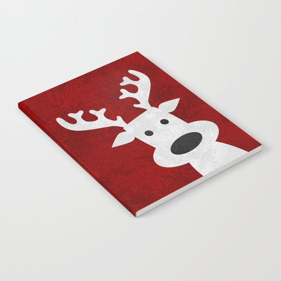 Christmas reindeer red marble Notebook