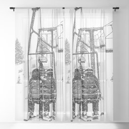 Snow Lift // Ski Chair Lift Colorado Mountains Black and White Snowboarding Vibes Photography Sheer Curtain