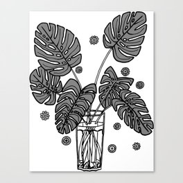 Grey Monstera Cuttings Canvas Print