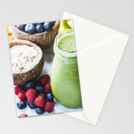 fresh smoothie with fruits, berries, oats and seed Stationery Cards