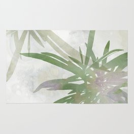 Olive Green Palm Leaves Watercolor Painting Rug