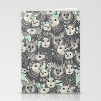 sweater Stationery Cards featuring sweater mice mint by Sharon Turner