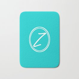 Monogram - Letter Z on Cyan Background Bath Mat