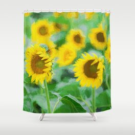 Sunflowers field Shower Curtain