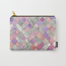 Quatrefoil Moroccan Pattern Mother of Pearl and quartz Carry-All Pouch