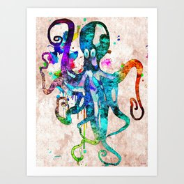 Octopus Grunge Art Print