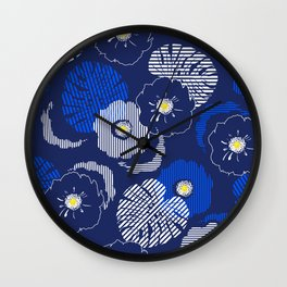 blue monstera floral Wall Clock