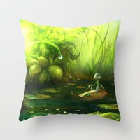 neil gaiman Throw Pillows featuring Solitude through the leaves, by Neil Price by Neil Price