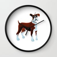 boxer Wall Clocks featuring Boxer by Cathy Brear