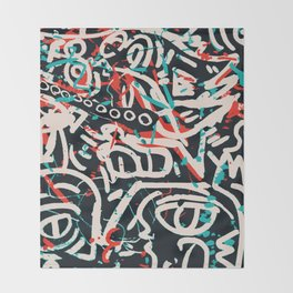 Street Art Pattern Graffiti Post Throw Blanket