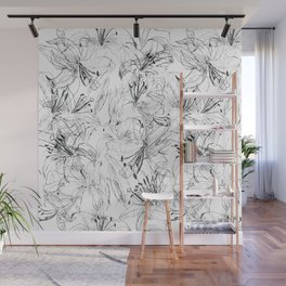 lily sketch black and white pattern Wall Mural