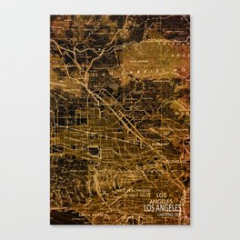 Old map of Los Angeles, year 1966 Canvas Print