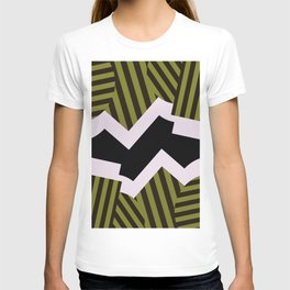 Bold Stripes - Black and white, brown and khaki stripes, abstract geometry T-shirt