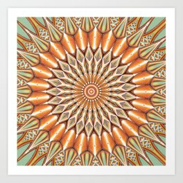 Heart of the Sunflower - Mandala Art Art Print