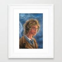 good omens Framed Art Prints featuring Good Omens: Aziraphale by Katerina Romanova
