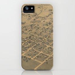 Vintage Pictorial Map of La Grange TX (1880) iPhone Case