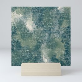 Grunge Abstract Art in Teal, Olive Green and Cream Mini Art Print