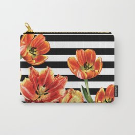 Red Orange Tulips Black Stripes Chic Carry-All Pouch