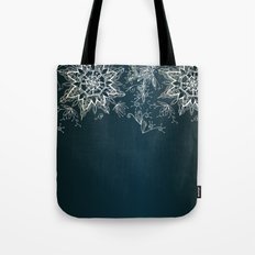 Zendala snowflake denim Tote Bag