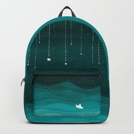Falling stars, sailboat, teal, ocean Backpack