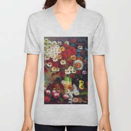 Red Poppies, Dahlias, Daises, Begonia, Parrot Tulips in Vase Tuscany Still Life by Vincent van Gogh Unisex V-Neck