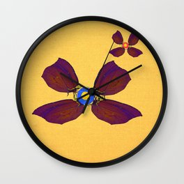 butterfly flowers Wall Clock