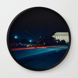 Iconic Washington D.C. Memorials At Night Wall Clock
