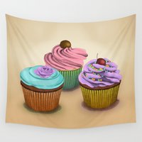 cupcakes Wall Tapestries featuring Cupcakes!  by Megs stuff...