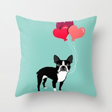 Boston Terrier Valentine heart balloons for pet owners and dog lovers gift for someone they love Throw Pillow