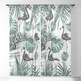 Tropical Flamingo Pattern #6 #tropical #decor #art #society6 Sheer Curtain