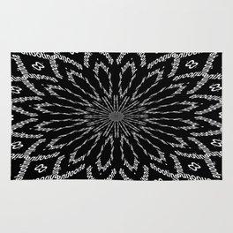Shooting Star Black and White Kaleidoscope Rug