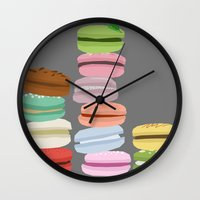 macarons Wall Clocks featuring Macarons by Eunice Wong