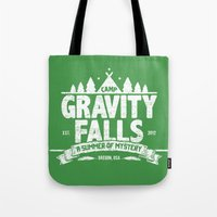 gravity falls Tote Bags featuring Camp Gravity Falls  by MoviTees