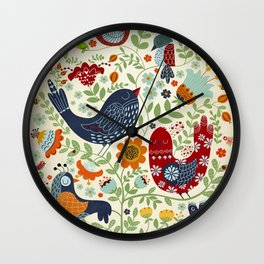 BIRDS AND FLOWERS Wall Clock