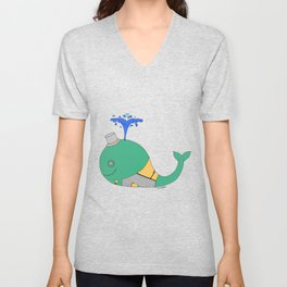 Steampunk Whale (Green) Unisex V-Neck