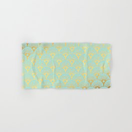 Art Deco Mermaid Scales Pattern on aqua turquoise with Gold foil effect Hand & Bath Towel