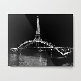 Eiffel Tower At Night 7bw Metal Print