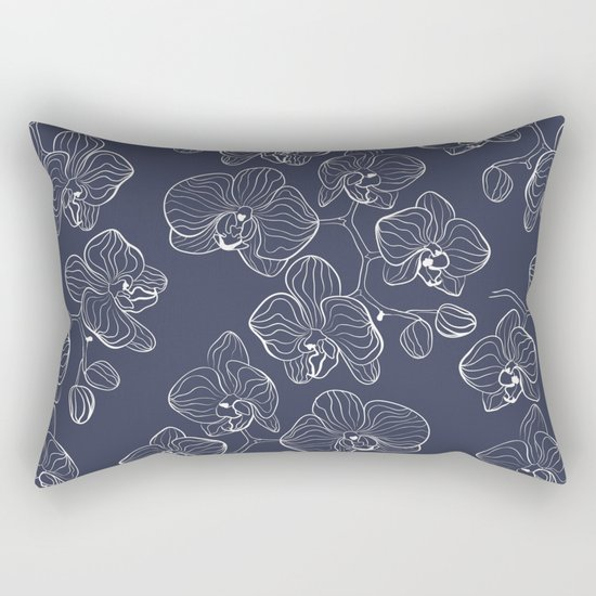 Retro . Orchid flowers on a blue background . Rectangular Pillow