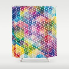 Cuben Curved #6 Geometric Art Print. Shower Curtain