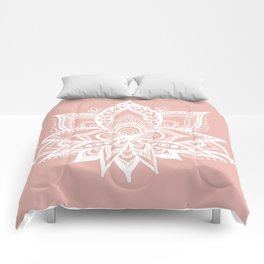 White Lotus Flower on Rose Gold Comforters