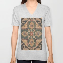 Geometric Leaves VI // 18th Century Distressed Red Blue Green Colorful Ornate Accent Rug Pattern Unisex V-Neck