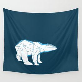 Blue geo polar bear looking for love.. Wall Tapestry