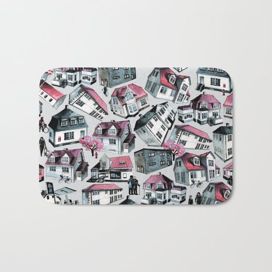 Danish small town pattern Bath Mat