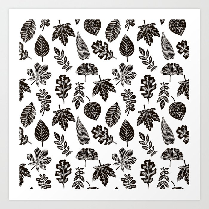 Linocut Leaves Fall Autumn Black And White Home Decor Seasonal Patterns Art  Print